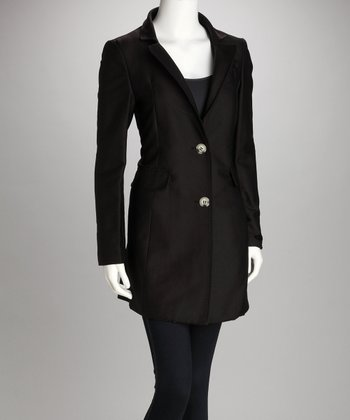 Black Two-Button Coat - Women
