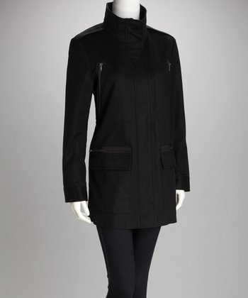 Black Zip-Pocket Coat - Women
