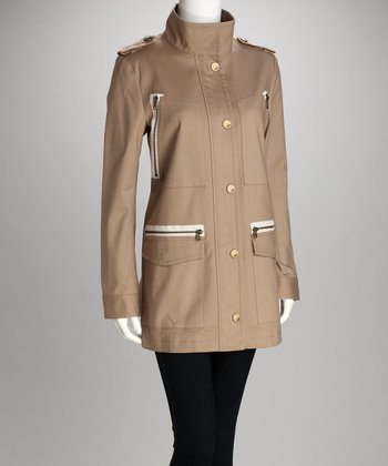Biscuit Zip-Pocket Coat - Women