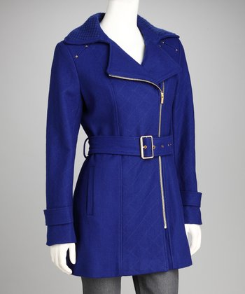 Lapis & Gold Wool-Blend Coat