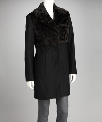 Black Faux Fur Wool-Blend Coat - Women
