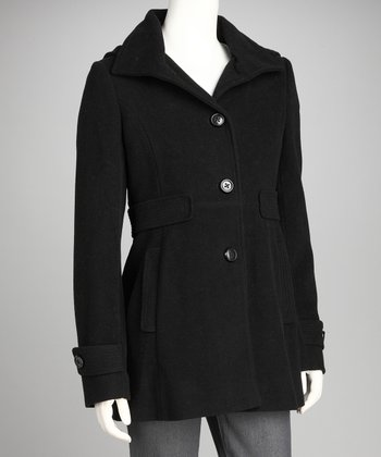 Black Wool-Blend Swing Coat