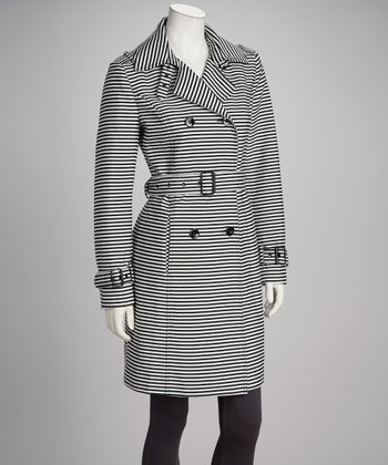 Black Stripe Belted Coat