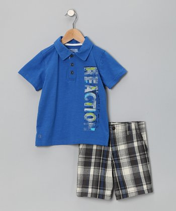 Blue 'Reaction' Polo & Plaid Shorts - Infant