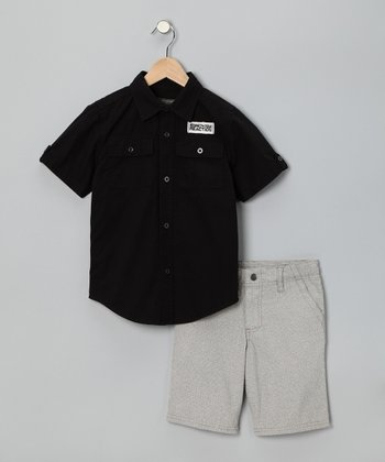 Black Button-Up & Khaki Shorts - Boys
