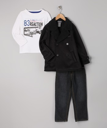 Black Peacoat Set - Toddler