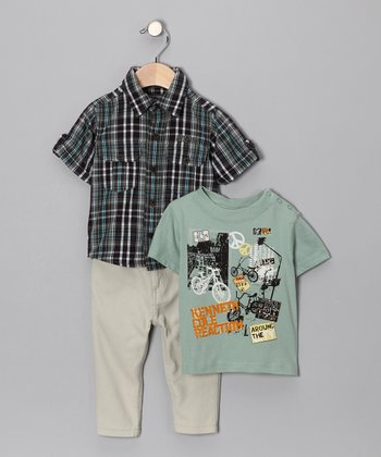 Green Plaid Button-Up Set - Toddler