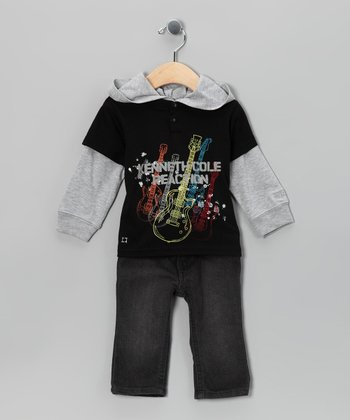 Black 'Kenneth Cole' Layered Hoodie & Jeans - Infant