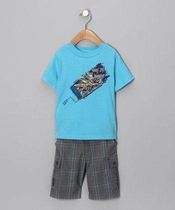 Turquoise Paint Roller Tee & Shorts - Toddler & Boys