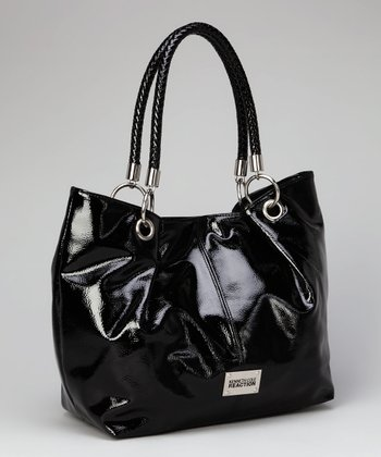 Black Woven-Handle Tote