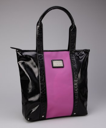 Black & Fuchsia Color Block Tote