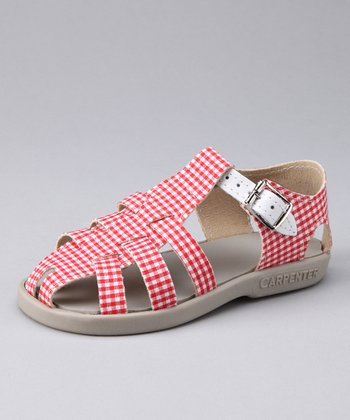 Red & White Gingham Audrey Sandal