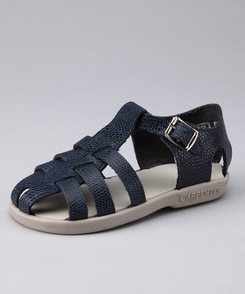 Navy Snakeskin Audrey Closed-Toe Sandal