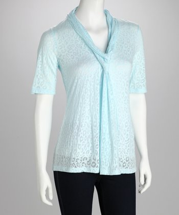 White & Blue Leopard Tissue Top