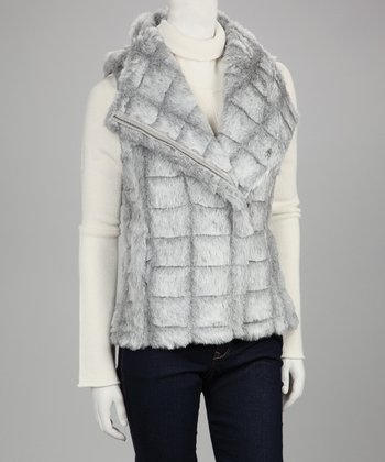 Gray Sarah Sculpted Faux Fur Vest