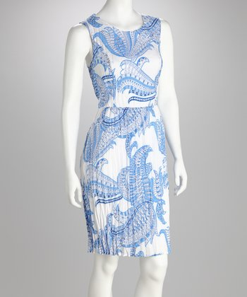 Blue & White Paisley Sleeveless Dress