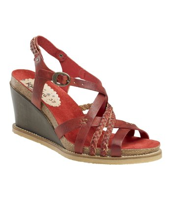 Dark Red U-Feel Wedge Sandal - Women
