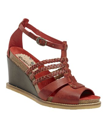Dark Red U-Find Wedge Sandal - Women