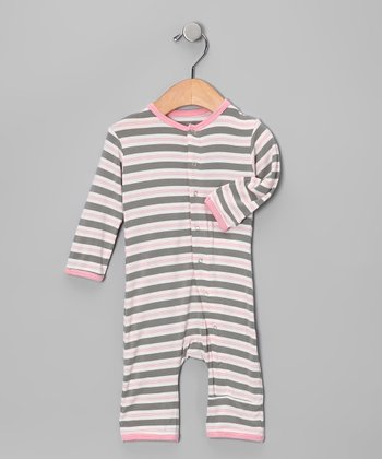 Misty Gray Stripe Playsuit - Infant & Toddler