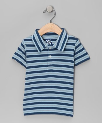 Twilight Blue Stripe Bamboo Polo - Infant, Toddler & Boys