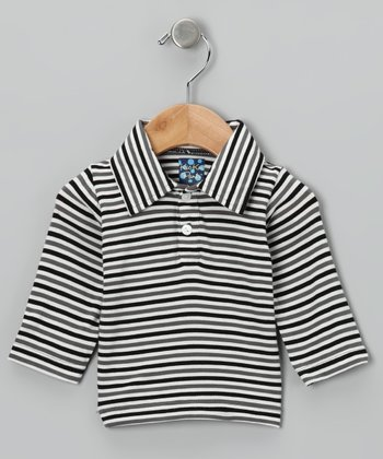 Black & Gray Stripe Polo - Infant, Toddler & Boys