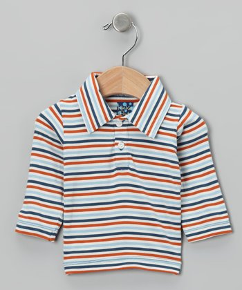 Blue & Red Stripe Polo - Infant, Toddler & Boys