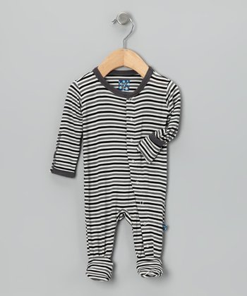 KicKee Pants Black & Gray Stripe Footie - Infant, Toddler & Boys