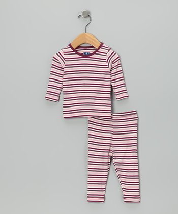 KicKee Pants Pink Orchid Stripe Pajama Top & Pants - Infant, Toddler & Kids