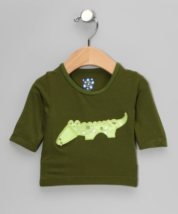 Green Crocodile Long-Sleeve Tee - Infant, Toddler & Kids