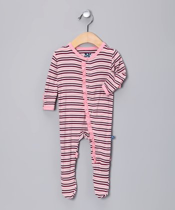 Pink & Maroon Stripe Ruffle Footie - Infant, Toddler & Girls