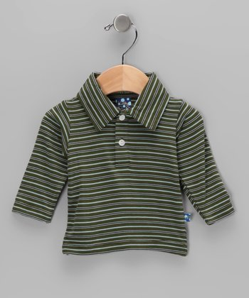 Moss Stripe Bamboo Long-Sleeve Polo - Infant, Toddler & Boys