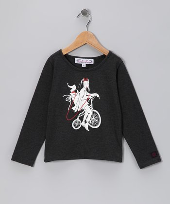 Charcoal Bicycle Tee - Girls