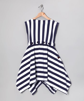 Nautical White Stripe Monica Dress - Girls