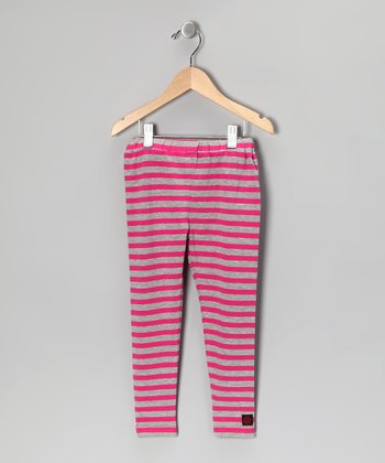 Raspberry & Silver Stripe Leggings - Girls