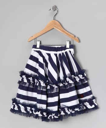 Nautical White Daniella Skirt - Girls