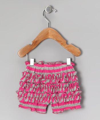 Raspberry Stripe Ruffle Bloomers - Infant