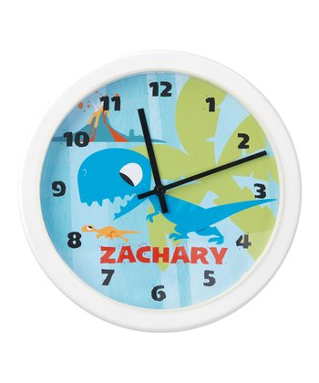Blue Dinosaur Personalized Clock