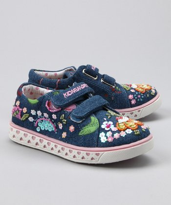 Denim Floral Double-Strap Sneaker