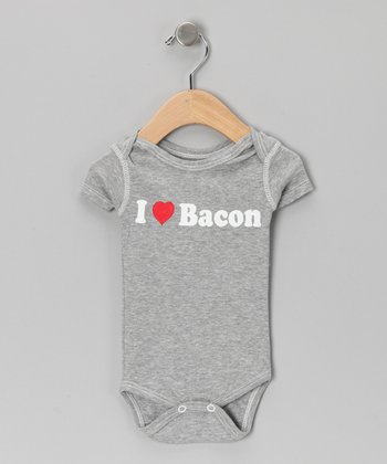Athletic Heather 'I Love Bacon' Bodysuit - Infant