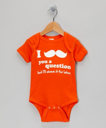 Orange 'I Mustache You a Question' Bodysuit