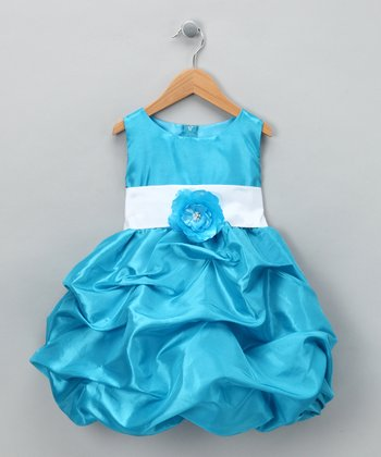 Turquoise Fancy Bon Bon Dress - Infant, Toddler & Girls
