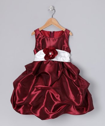 Burgundy Fancy Bon Bon Dress - Infant, Toddler & Girls