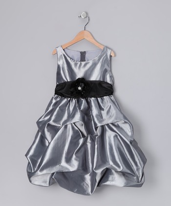 Gray Fancy Bon Bon Dress - Infant, Toddler & Girls