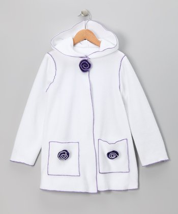 White Flower Fleece Jacket - Infant, Toddler & Girls