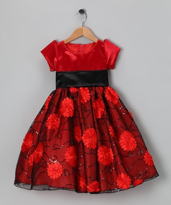 Red & Black Daisy Satin Bon Bon Dress - Infant, Toddler & Girls