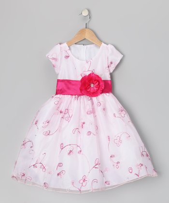 White & Fuchsia Flower Organza Dress - Infant, Toddler & Girls