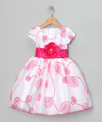 White Curlicue Sash Dress - Infant, Toddler & Girls