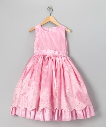 Pink Princess Embroidered Dress - Infant, Toddler & Girls
