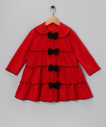 Red Bow Tie Tiered Fleece Jacket - Infant, Toddler & Girls