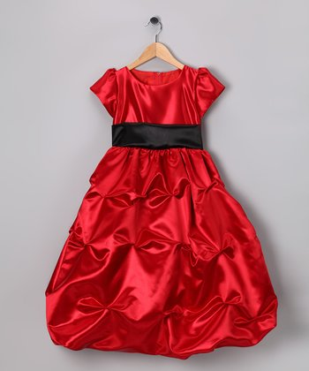 Red Bon Bon Satin Tiered Dress - Infant, Toddler & Girls